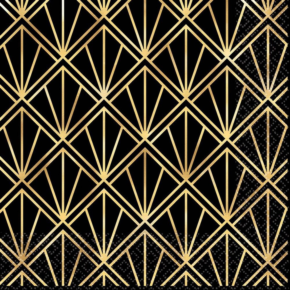 Image of 16ct Glitz & Glam Lunch Napkins Gold/Black