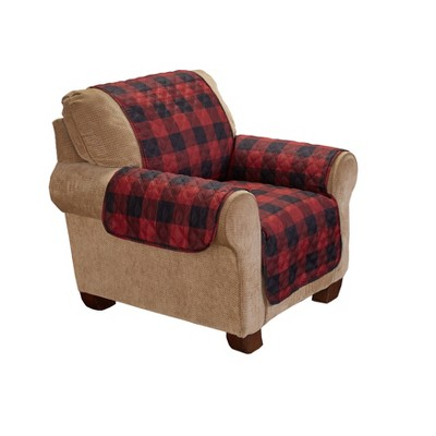 Lakeside Red & Black Checkered Chair Cover - Diamond Quilted Fabric