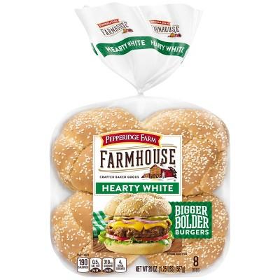 Pepperidge Farm Farmhouse Hearty White Hamburger Buns - 20oz/8ct