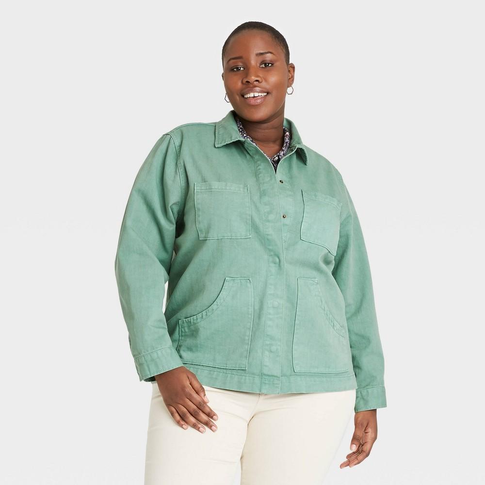 Women 39 S Plus Size Long Sleeve Chore Jacket Universal Thread 8482 Green 2x