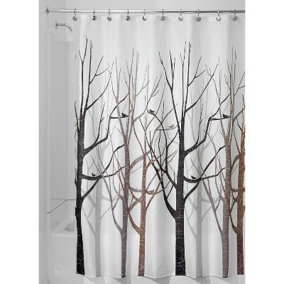 interDesign Forest Shower Curtains - Gray/Black