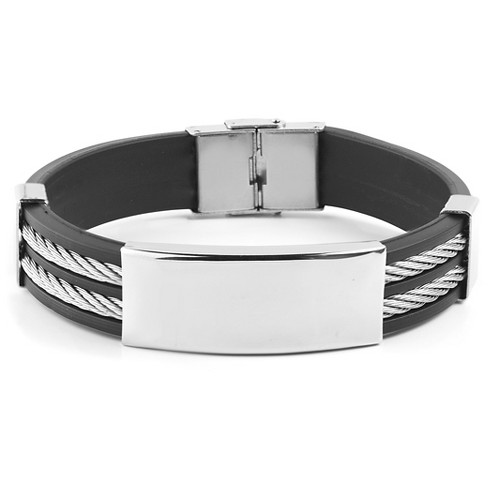 Men's West Coast Jewelry Stainless Steel Cable Inlay Rubber ID Bracelet - image 1 of 3