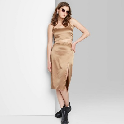Women's Satin Super Crop Top and Midi Skirt - Wild Fable™