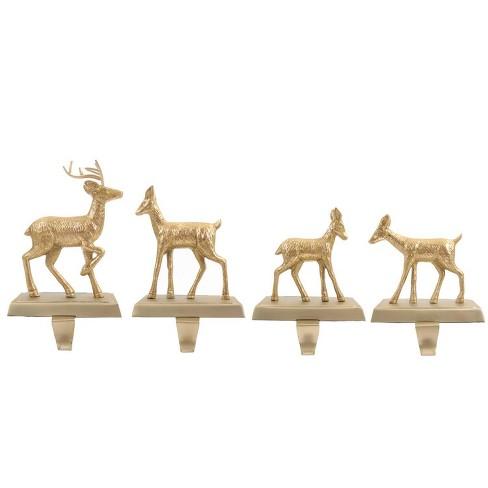 4pk Metal Deer Christmas Stocking Holder Brushed Brass - Wondershop™ - image 1 of 1