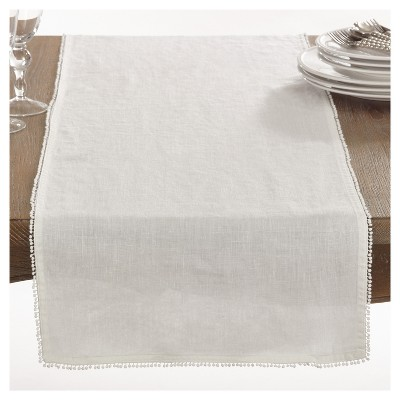 Ivory PomPom Design Table Runner (16 x72 )- Saro Lifestyle®