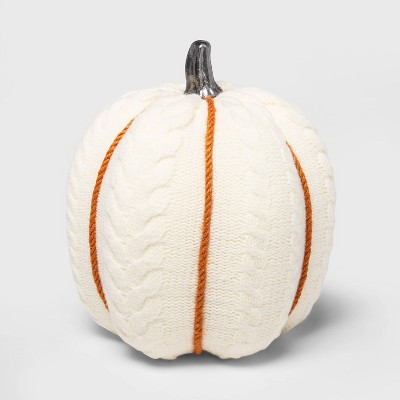 Large Cable Knit Soft Fabric Harvest Pumpkin (with White Contrast Jute Base)- Spritz™