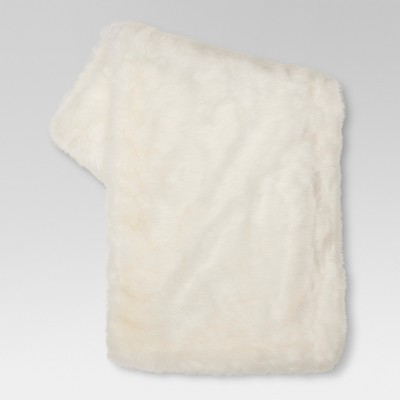 Cream Faux Fur Throw Blanket (50 x60 )- Threshold™