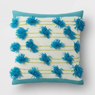 Decorative Throw Pillow Blue Pom Stripes - Opalhouse™