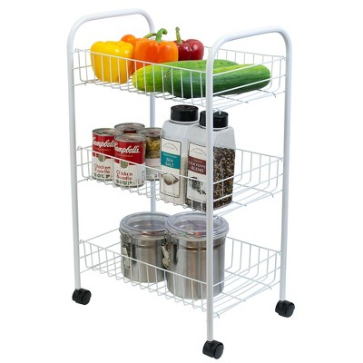 Home Basics Multi-Purpose Rolling Metal Kitchen Trolley, White