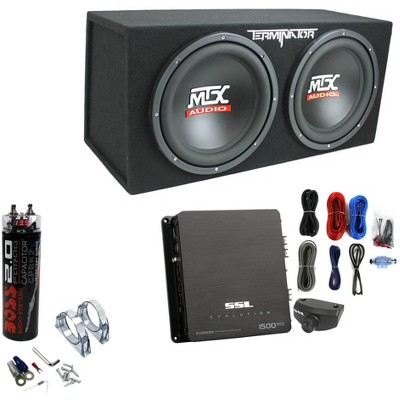 """MTX TNE212D 12"""" 1200W Dual Loaded Subwoofer Box + 1500W Amp + Wiring + Capacitor"""
