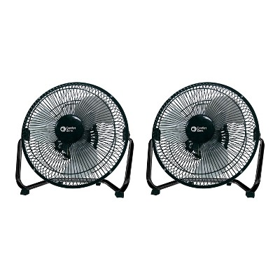 Comfort Zone Cradle Style 9 Inch 3 Speed Portable High Velocity Air Cooling Floor Fan w/ 180 Degree Tilt, Fits on Desk or Small Table, Black (2 Pack)