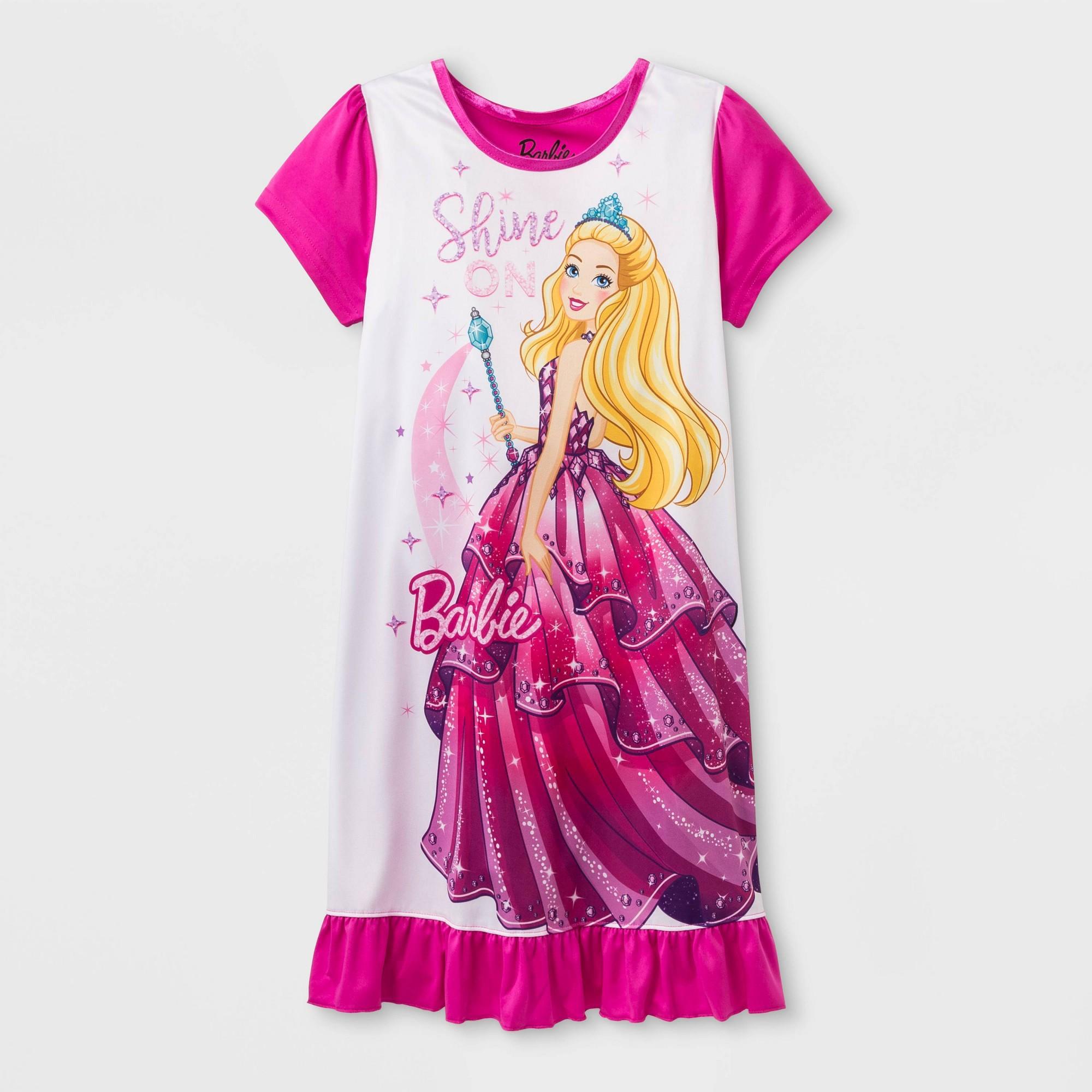Girls' Barbie Dorm & Doll Nightgown - Pink 4