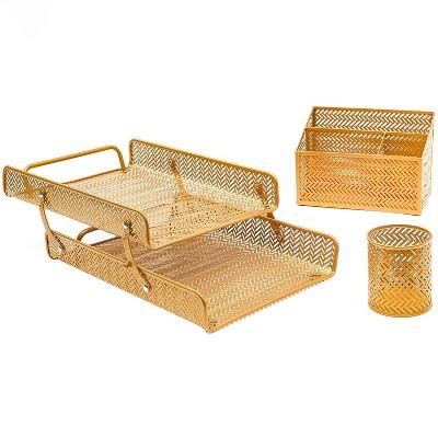 3 Pcs Metal Desk Organizer Accessories Set for Home Office School, Gold Chevron