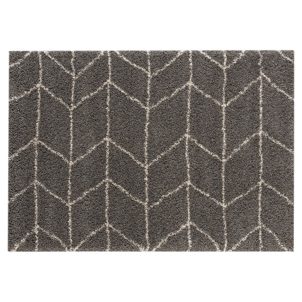 Image of 5'X7' Chevron Area Rug Dark Gray - Balta Rugs, Off-White Gray