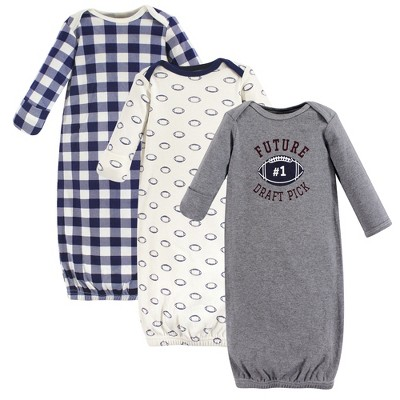 Hudson Baby Infant Boy Cotton Long-Sleeve Gowns 3pk, Football, 0-6 Months