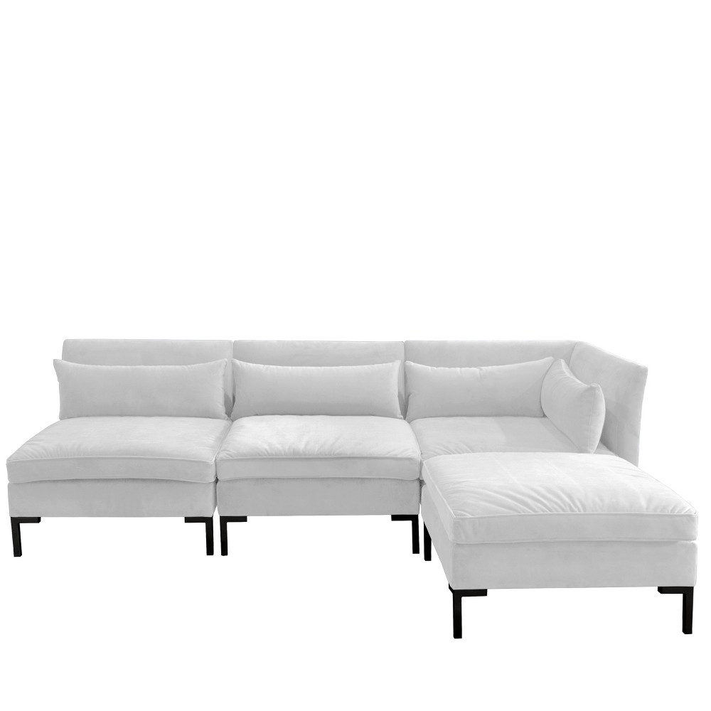 Image of 4pc Alexis Sectional with Black Metal Y Legs White Velvet - Cloth & Company