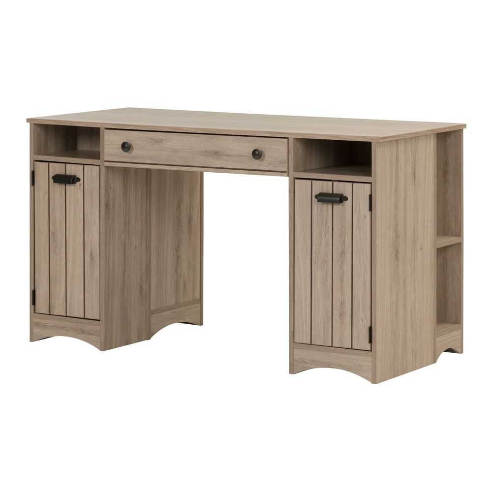Artwork Craft Table with Storage - Rustic Oak (Brown) - South Shore No matter what your craft is, you should have a designated space to work and store supplies. The Artwork Craft Table with Storage from South Shore allows you to separate and organize your tools and materials so you always know where everything is, and can easily get to it via open shelving. This craft desk with a large worktop means you can spread out when drawing, painting or sewing, because all the usual clutter has been tucked away into drawers. For a craft desk with storage, it doesn't get much more simple or versatile than this. Color: Oak.
