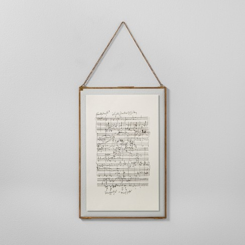 music notes framed wall art 12 x18 brass hearth hand with