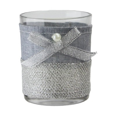 """Northlight 3.25"""" Lace Tea Light Christmas Candle Holder - Silver"""