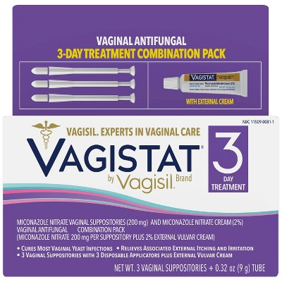 VAGISTAT 3 Day 2% Miconazole Nitrate Cream for Yeast Infection Treatment - 3ct