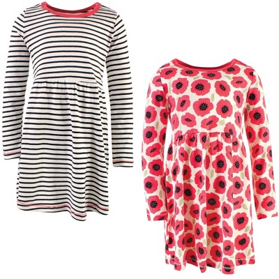 Touched by Nature Big Girls and Youth Organic Cotton Long-Sleeve Dresses 2pk, Poppy