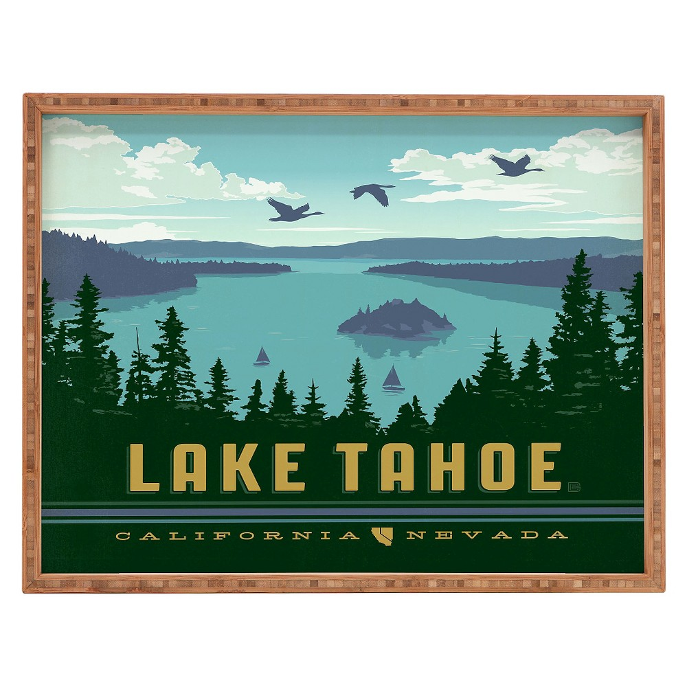Image of Anderson Design Group Lake Tahoe Rectangle Tray - Green - Deny Designs, Green Blue