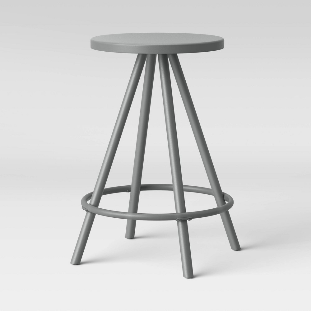 Image of Metal Counter Height Stool Gray - Room Essentials