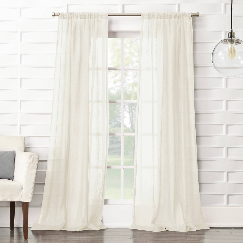 "Image of ""50""""x63"""" Avril Crushed Texture Rod Pocket Semi-Sheer Curtain Panel Cream - No. 918, Size: 50""""x63"""", Ivory"""