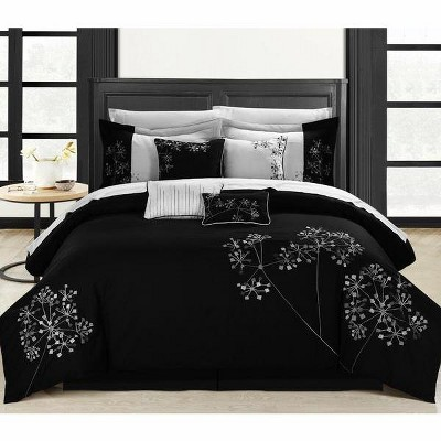 Chic Home Pink floral Black & White Microfiber Embroidered Comforter Bed In A Bag Set 12 Piece