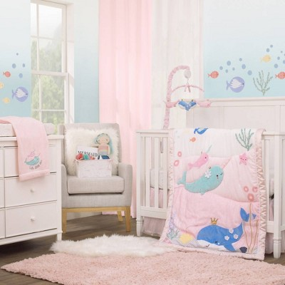 Nojo Under The Sea Whimsy Whales and Narwhals Crib Bedding Set - 4pc