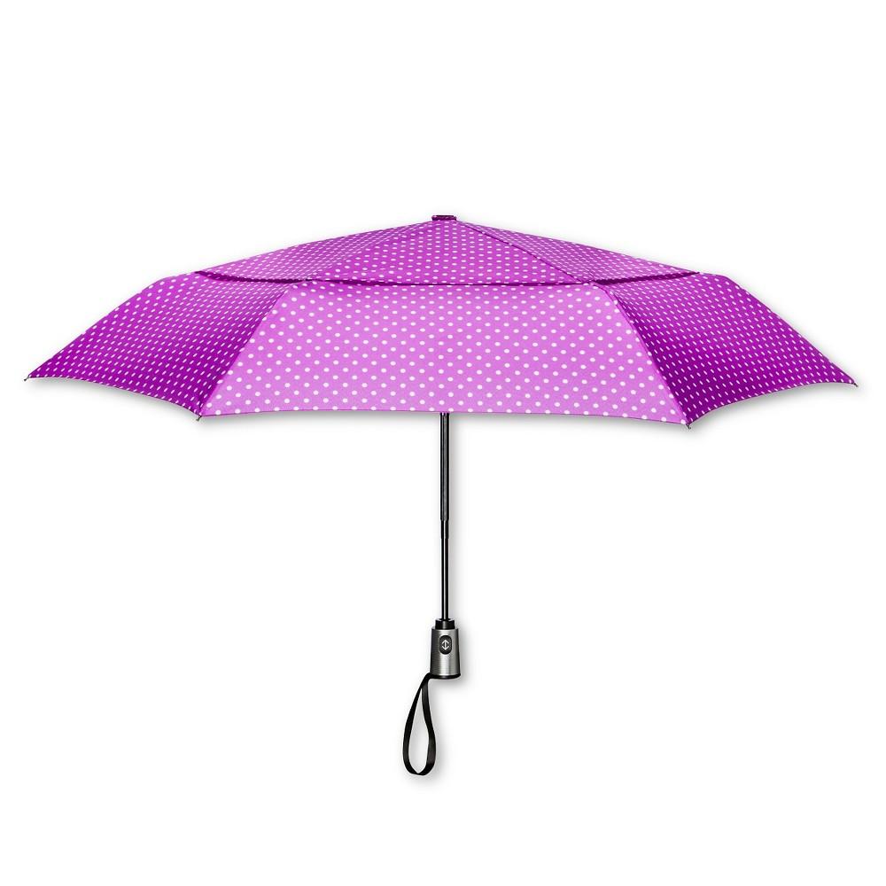 ShedRain Auto Open/Close Air Vent Compact Umbrella - Purple Polka Dot