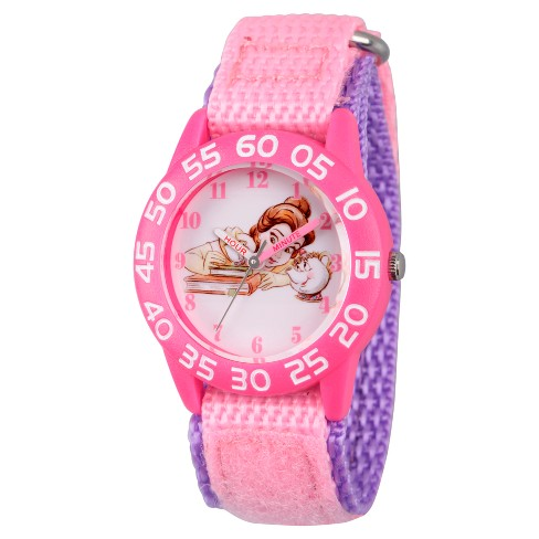 Girls' Disney Princess Belle, Mrs Potts, and Chip Pink Plastic Time Teacher Watch - Pink - image 1 of 1