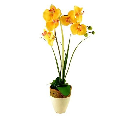 Artificial Orchid Arrangement Yellow 26  - LCG Florals
