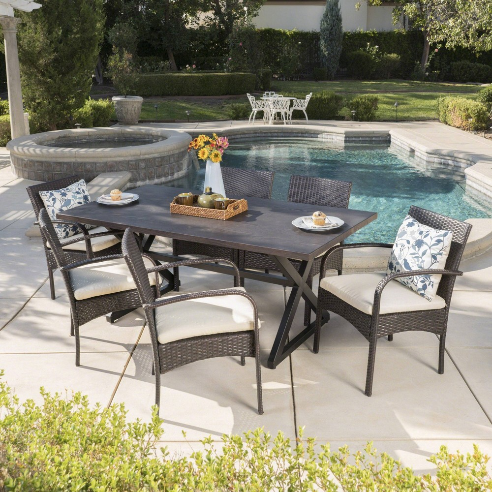 Ashworth 7pc Aluminum & Wicker Patio Dining Set - Brown - Christopher Knight Home