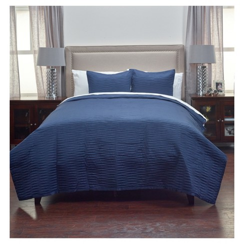 Navy Geometrical Poly Satin Maddux Place Quilt Set (Queen) - Rizzy Home - image 1 of 4