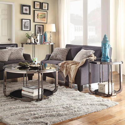 Concord Black Glass Top Round Coffee Table   Black   Inspire Q : Target