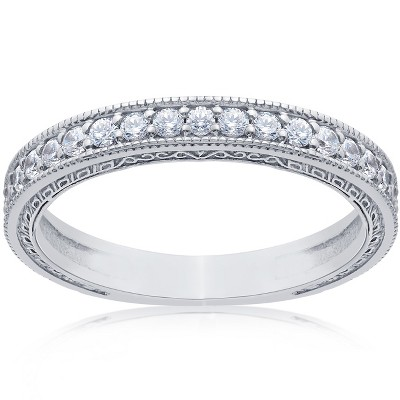 Pompeii3 1/2Ct Diamond Wedding Vintage Ring Anniversary Stackable Band 14k White Gold