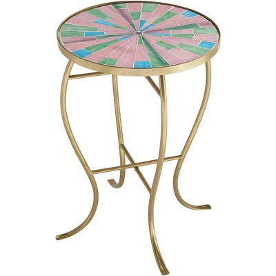 Teal Island Designs Pastel Mosaic Glass Tile Table with Gold Finish Base