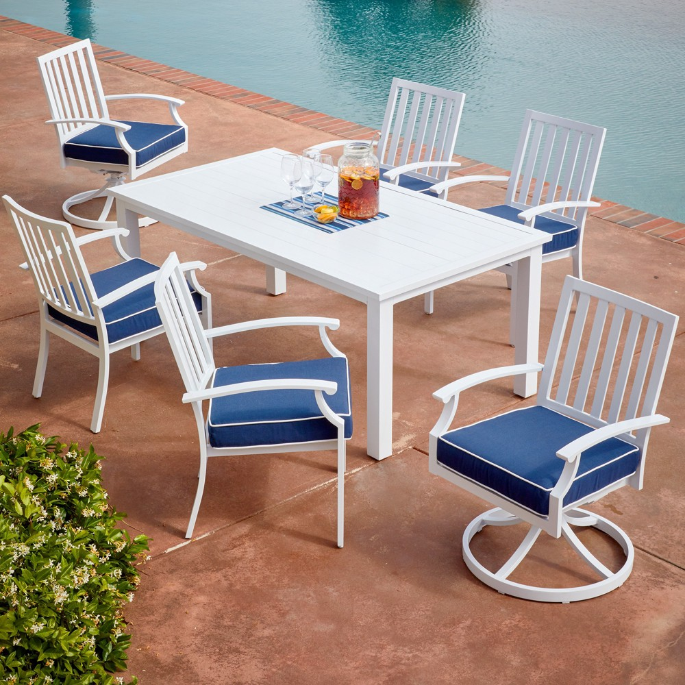 Image of 7pc Bridgeport Coastal Dining Set Blue - Royal Garden