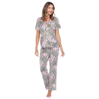 Women's Short Sleeve Top and Pants Pajama Set - White Mark