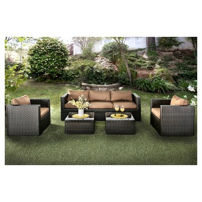 Chelsie 5pc All Weather Wicker Patio Chat Set   Furniture Of America :  Target