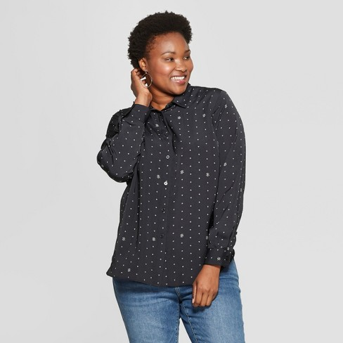 43afd42acb837d Women s Plus Size Printed No Gap Button-Down Long Sleeve Blouse - Ava   Viv™  Black   Target