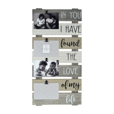 "12"" x 24"" 4 Opening Linen Plank Collage Photo Display White/Natural - Prinz"