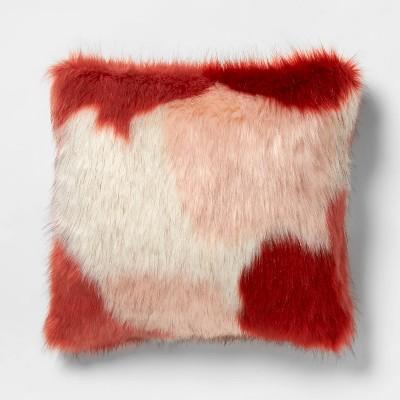 Square Color Block Faux Fur Throw Pillow Burgundy/Pink - Opalhouse™