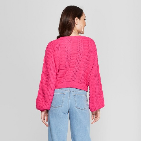 Womens Long Sleeve Cable Crop Pullover Sweater Almost Famous