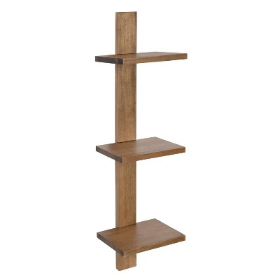 3 Shelves Udell Floating Wood Wall Shelf - Kate & Laurel All Things Decor