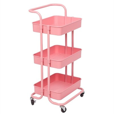 3 Tier Mobile Storage Caddy in Light Pink-Pemberly Row