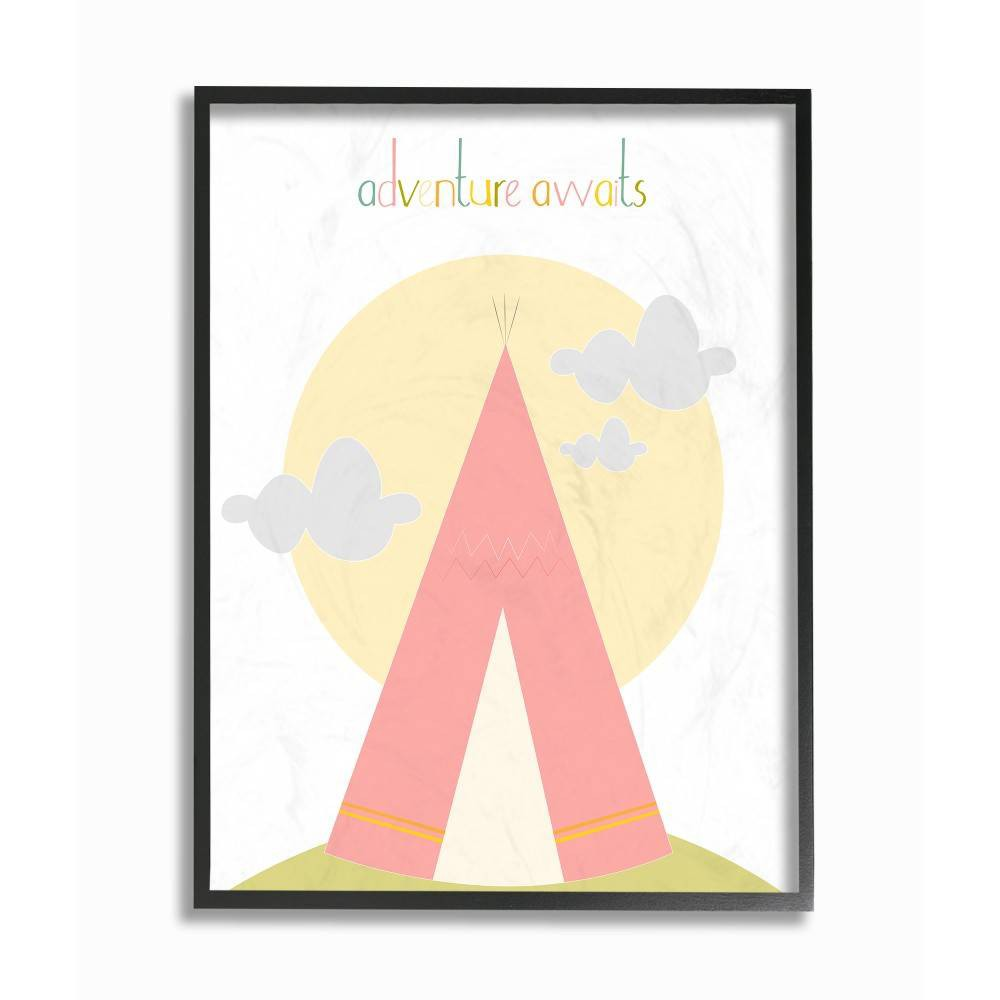 "Image of ""11""""x1.5""""x14"""" Adventure Awaits Tee Pee In Pink Framed Giclee Texturized Art - Stupell Industries"""