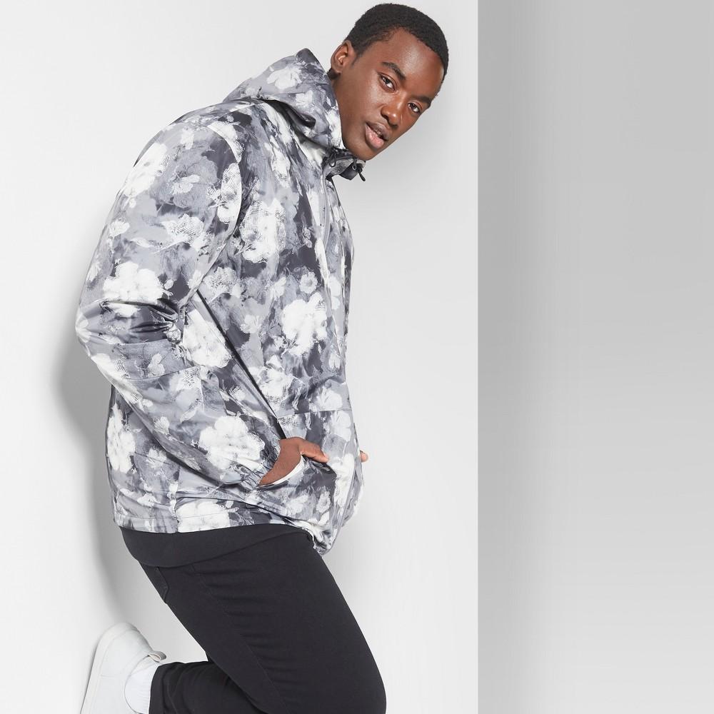Men's Tall Floral Print Long Sleeve Full Zip Anorak Jacket - Original Use Folkstone Gray MT