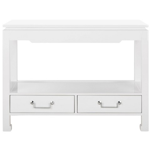 Corbell 2 Drawer Lacquer Console Table White Safavieh